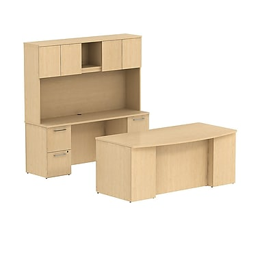 Bush 300 Series Double Ped Desk with Double Ped Credenza & Tall Hutch, Natural Maple