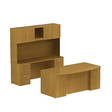 Bush 300 Series Double Ped Desk with Double Ped Credenza & Tall Hutch, Modern Cherry