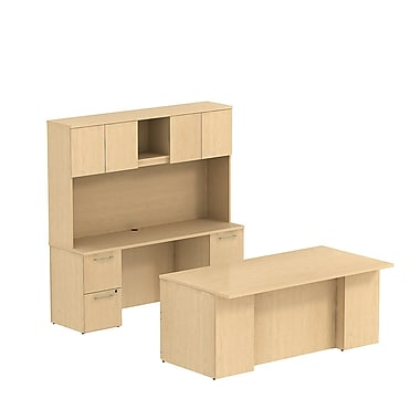 Bush 300 Series 72in.W x 36in.D Double Ped Desk with 72in.W Double Ped Credenza & 72in. Tall Hutch, Natural Maple
