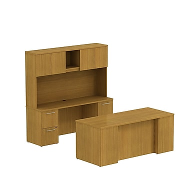 Bush 300 Series Double Ped Desk with Double Ped Credenza & Tall Storage, Modern Cherry