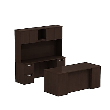 Bush 300 Series Double Ped Desk with Double Ped Credenza & Tall Storage, Mocha Cherry
