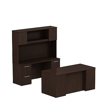 Bush Business Furniture Emerge 66W x 30D Office Desk with Hutch, Credenza and 2 Pedestals Installed, Mocha Cherry (300S048MRFA)