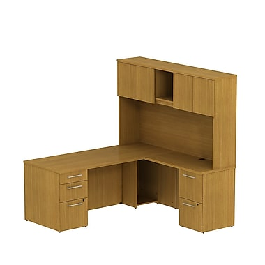 Bush 300 Series L-Desk with 2 Drawer & 3 Drawer Peds & 72