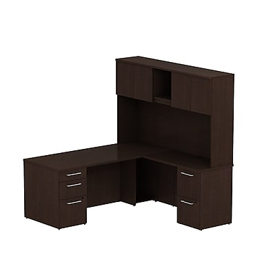 Bush Business 300 Series 72W x 30D Single Pedestal Desk in L-Configuration with Pedestal and Hutch, Mocha Cherry, Installed