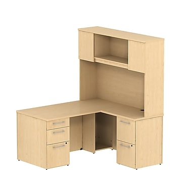 Bush Business 300 Series 60W x 30D Single Pedestal Desk in L-Configuration with Pedestal and Hutch, Natural Maple