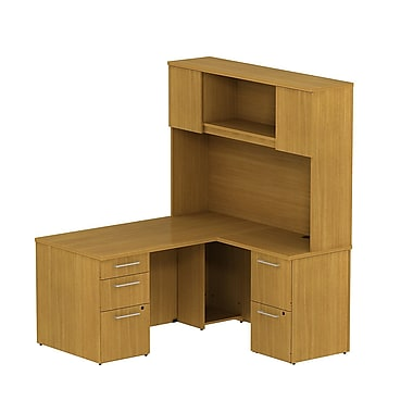 Bush 300 Series L Desk with Storage & Tall Hutch Modern