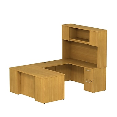 Bush 300 Series Desk U-Config with Pedestals & Tall Hutch, Modern Cherry