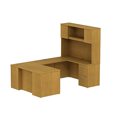 Bush 300 Series Desk in U-Config with Pedestals & Tall Hutch, Modern Cherry