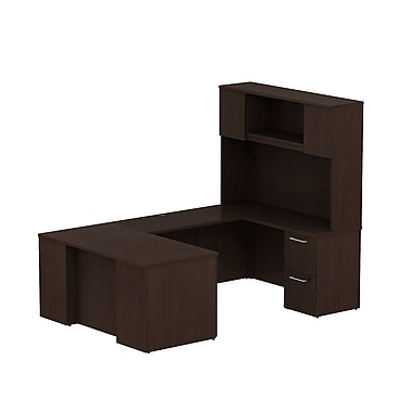 Bush 300 Series Desk in U-Config with Pedestals & Tall Hutch, Mocha Cherry
