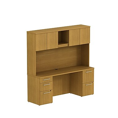 Bush Business 300 Series 72W x 22D Double Pedestal Desk with 72W Hutch, Modern Cherry, Installed