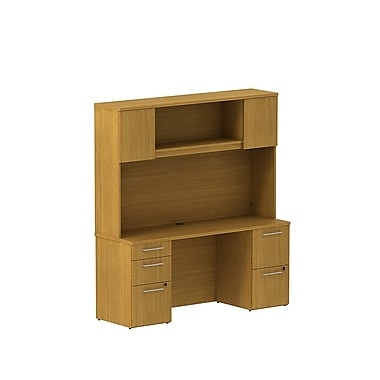 Bush Business Furniture Emerge 66W x 22D Office Desk with Hutch and 2 Pedestals Installed, Modern Cherry (300S059MCFA)