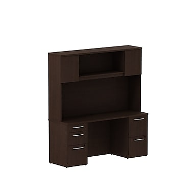 Bush Business Furniture Emerge 66W x 22D Office Desk with Hutch and 2 Pedestals Installed, Mocha Cherry (300S059MRFA)