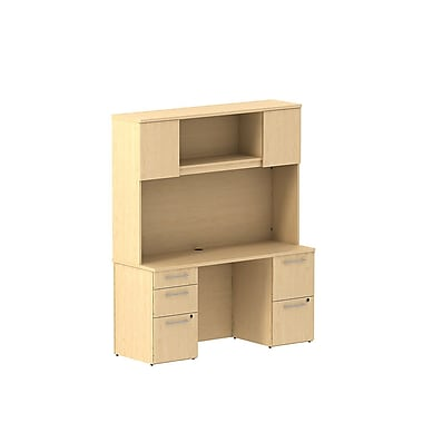 Bush Business 300 Series 60W x 22D Double Pedestal Desk with 60W Hutch Storage with Doors, Natural Maple, Installed