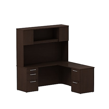 Bush 300 Series L-Desk with Pedestals & Tall Hutch, Mocha Cherry