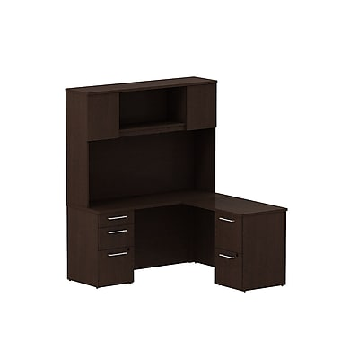 Bush 300 Series L-Shaped Credenza Desk with Storage & Tall Hutch, Mocha Cherry
