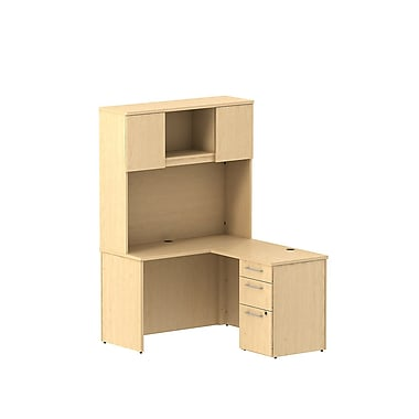 Bush 300 Series 48in.W x 22in.D Shell Desk L-Config w/ 3 Drw Ped  and Tall  Storage