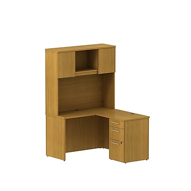 Bush 300 Series Shell Desk L-Configuration with Pedestal & Tall Hutch, Modern Cherry