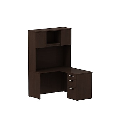 Bush 300 Series Shell Desk L-Configuration with Pedestal & Tall Hutch, Mocha Cherry