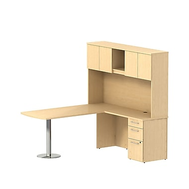 Bush Business 300 Series 72W x 30D Peninsula Desk in L-Configuration with 3 Drawer Pedestal and Hutch, Natural Maple, Installed
