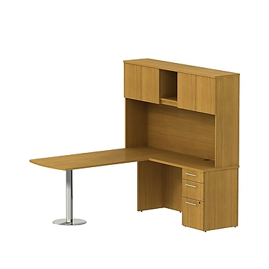 Bush 300 Series Peninsula L-Desk with Pedestal & Tall Hutch, Modern Cherry