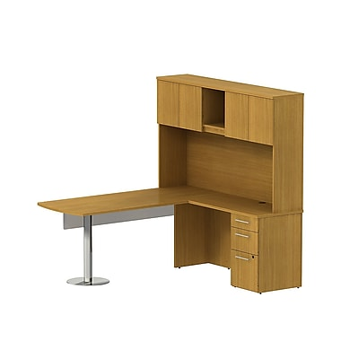 Bush 300 Series 72in.W x 30in.D Peninsula L-Desk with Glass Mod Panel, 3-Dwr Ped & 72in.W Tall Hutch, Modern Cherry, Fully Assembled