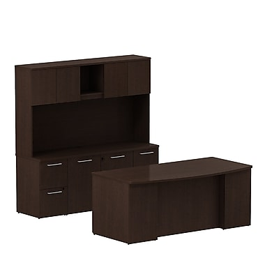 Bush Business 300 Series 72W x 36D Bow Front Double Pedestal Desk with Storage Credenza and Hutch, Mocha Cherry, Installed