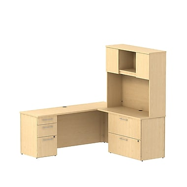 Bush Business 300 Series 72W x 22D Desk in L-Configuration with Pedestal, Lateral File and Hutch, Natural Maple, Installed