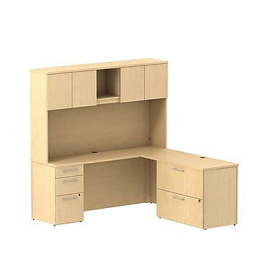 Bush Business 300 Series 72W x 22D Desk in L-Configuration w/ Pedestal, Lateral File and Hutch, Natural Maple, Installed
