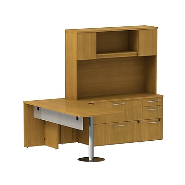 Bush 300 Series Peninsula Desk with Glass Panel, Storage Credenza & Hutch, Modern Cherry