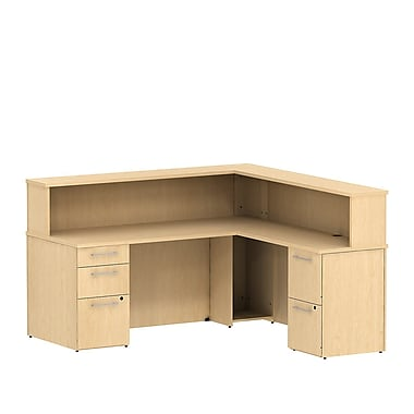 Bush 300 Series Reception L-Desk with Pedestals & Reception Hutch, Natural Maple