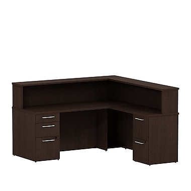 Bush 300 Series Reception L-Desk with Pedestals & Reception Hutch, Mocha Cherry