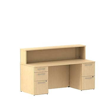 Bush 300 Series Double Pedestal Reception Gallery Desk with Reception Hutch, Natural Maple
