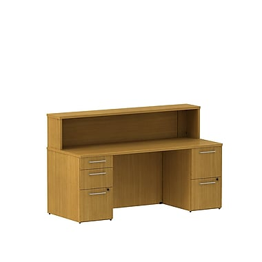Bush 300 Series Double Pedestal Reception Gallery Desk with Reception Hutch, Modern Cherry