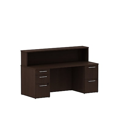 Bush 300 Series Double Pedestal Reception Gallery Desk with Reception Hutch, Mocha Cherry