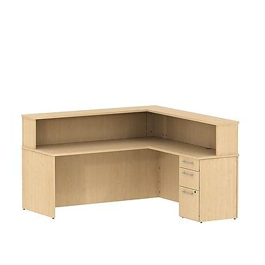 Bush 300 Series Reception Desk with Pedestal & Reception Hutch, Natural Maple