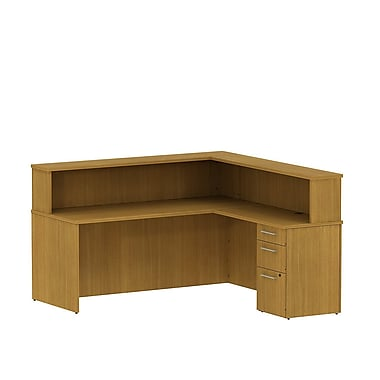 Bush 300 Series Reception Desk with Pedestal & Reception Hutch, Modern Cherry