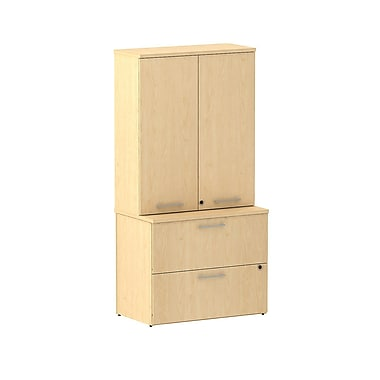 Bush 300 Series 36in.W 2-Drawer Lateral File with 36in.W Tall Wardrobe Storage, Natural Maple, Fully Assembled