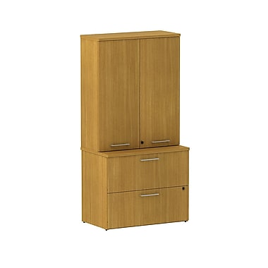 Bush Business 300 Series 36W 2 Drawer Lateral File with 36W Tall Wardrobe Storage, Modern Cherry, Installed