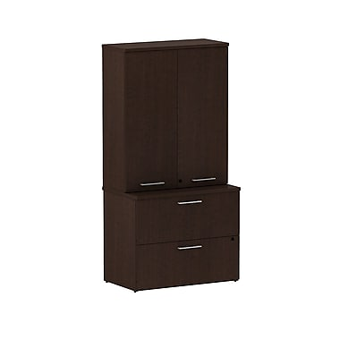 Bush 300 Series 36in.W 2-Drawer Lateral File with 36in.W Tall Wardrobe Storage, Mocha Cherry, Fully Assembled
