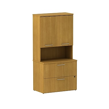 Bush Business 300 Series 36W 2 Drawer Lateral File with 36W Hutch Storage with Doors, Modern Cherry, Installed