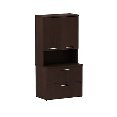 Bush 300 Series 36in.W 2-Drawer Lateral File with 36in.W Hutch, Mocha Cherry, Fully Assembled