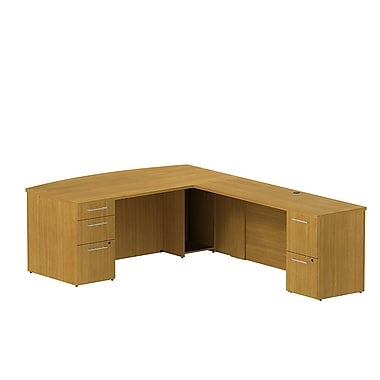 Bush 300 Series Bowfront L-Desk with Pedestals, Modern Cherry