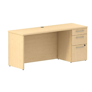 Bush 300 Series Single Pedestal Credenza Desk, 65.6