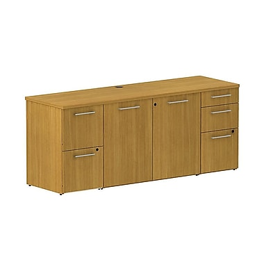 Bush Business 300 Series 72W X 22D Storage Credenza, Modern Cherry, Installed