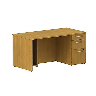 Bush Business 300 Series 60W Single Ped Desk, Modern Cherry, Installed