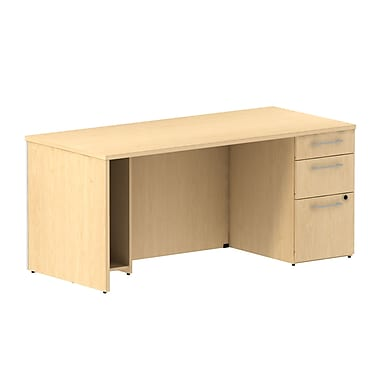 Bush Business 300 Series 66W Single Ped Desk, Natural Maple, Installed