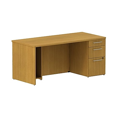 Bush Business 300 Series 66W Single Ped Desk, Modern Cherry, Installed