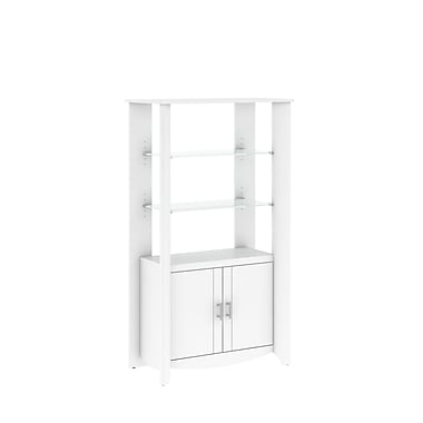 Bush Furniture Aero Tall Library Storage Cabinet with Doors, Pure White (MY16192-03)