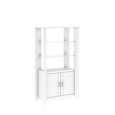 Bush – Grande bibliothèque de rangement à 2 portes de la collection Aero, fini blanc pur