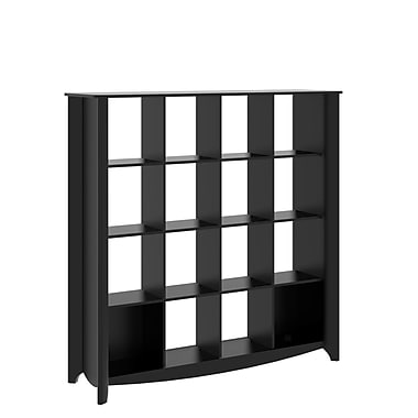 Bush Furniture Aero 16 Cube Bookcase Room Divider, Classic Black (MY16903-03)